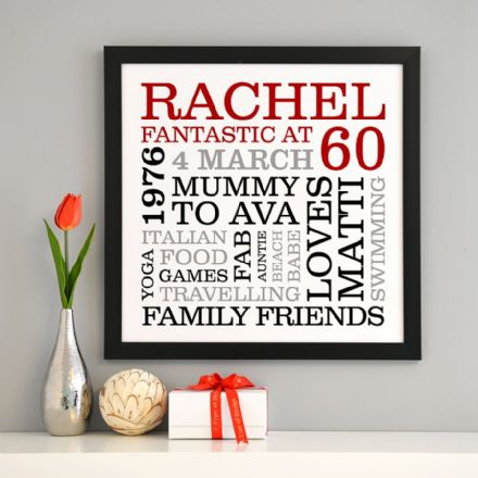 Personalised 60th Birthday Typographic Art